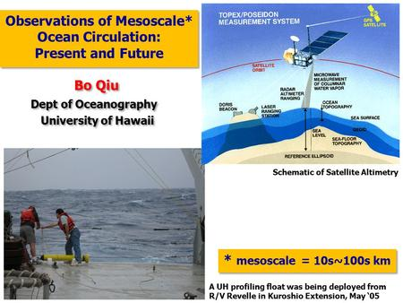 Observations of Mesoscale* Ocean Circulation: Present and Future Observations of Mesoscale* Ocean Circulation: Present and Future Bo Qiu Dept of Oceanography.