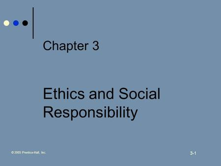 © 2005 Prentice-Hall, Inc. 3-1 Chapter 3 Ethics and Social Responsibility.
