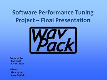 Software Performance Tuning Project – Final Presentation Prepared By: Eyal Segal Koren Shoval Advisors: Liat Atsmon Koby Gottlieb.