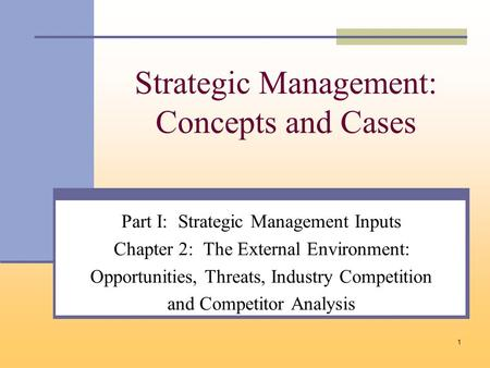 1 Strategic Management: Concepts and Cases Part I: Strategic Management Inputs Chapter 2: The External Environment: Opportunities, Threats, Industry Competition.