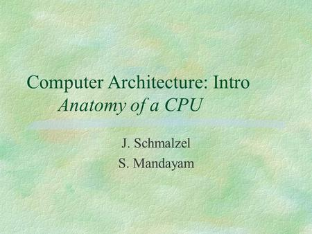Computer Architecture: Intro Anatomy of a CPU J. Schmalzel S. Mandayam.