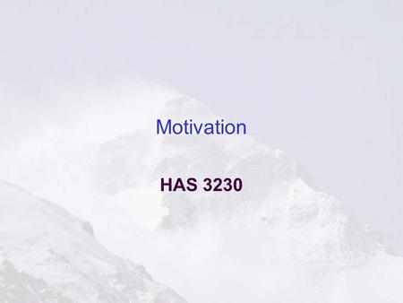Motivation HAS 3230. Everest Motivation Achieve Energy Persistent Eager to explore Like to keep score Optimistic.