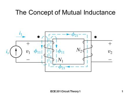 ECE 201 Circuit Theory 11 The Concept of Mutual Inductance.