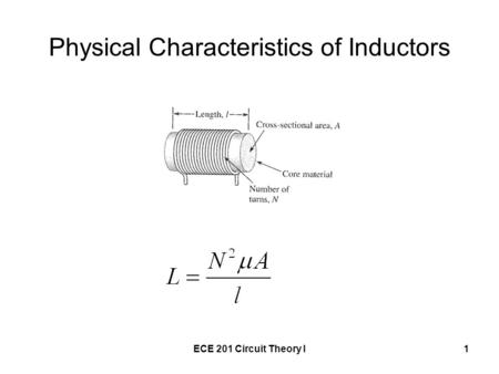 ECE 201 Circuit Theory I1 Physical Characteristics of Inductors.