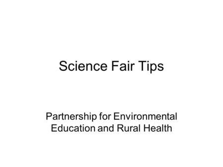 Partnership for Environmental Education and Rural Health