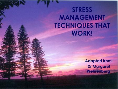 STRESS MANAGEMENT TECHNIQUES THAT WORK! Adapted from Dr Margaret Wehrenberg.