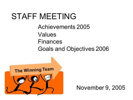 STAFF MEETING Achievements 2005 Values Finances Goals and Objectives 2006 November 9, 2005 The Winning Team.