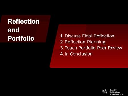 Reflection and Portfolio 1.Discuss Final Reflection 2.Reflection Planning 3.Teach Portfolio Peer Review 4.In Conclusion English 714 Ed Nagelhout 1 December.