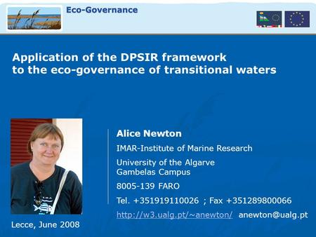 Application of the DPSIR framework