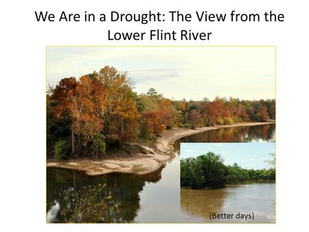 We Are in a Drought: The View from the Lower Flint River (Better days)