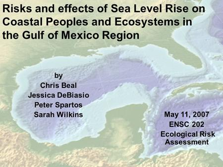 Risks and effects of Sea Level Rise on Coastal Peoples and Ecosystems in the Gulf of Mexico Region by Chris Beal Jessica DeBiasio Peter Spartos Sarah Wilkins.