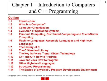 © Copyright 1992–2004 by Deitel & Associates, Inc. and Pearson Education Inc. All Rights Reserved. 1 Chapter 1 – Introduction to Computers and C++ Programming.