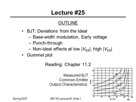 Lecture #25 OUTLINE BJT: Deviations from the Ideal
