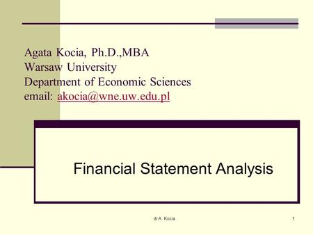 Financial <strong>Statement</strong> <strong>Analysis</strong>