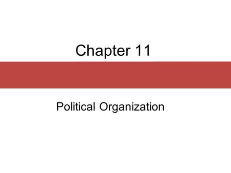 Chapter 11 Political Organization. Chapter Outline  Social Differentiation  Power and Social Control  Types of Political Organization.