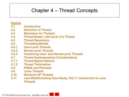  2004 Deitel & Associates, Inc. All rights reserved. Chapter 4 – Thread Concepts Outline 4.1 Introduction 4.2Definition of Thread 4.3Motivation for Threads.