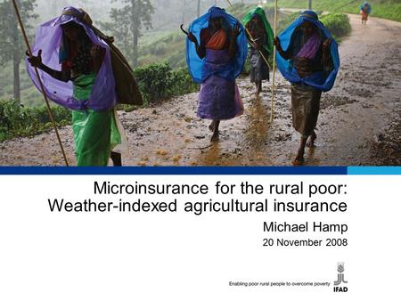 Microinsurance for the rural poor: Weather-indexed agricultural insurance Michael Hamp 20 November 2008.