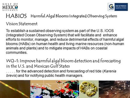 Harmful Algal Blooms Integrated Observing System HABIOS Vision Statement To establish a sustained observing system as part of the U.S. IOOS (Integrated.