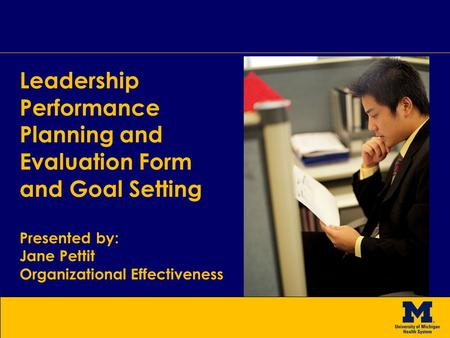 Leadership Performance Planning and Evaluation Form and Goal Setting
