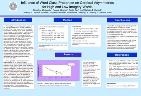 Influence of Word Class Proportion on Cerebral Asymmetries for High and Low Imagery Words Christine Chiarello 1, Connie Shears 2, Stella Liu 3, and Natalie.