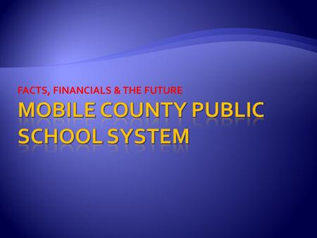 FACTS, FINANCIALS & THE FUTURE. 1'st Public School in the State of Alabama EST. 1836 96 Schools 22,000+ Acres of Property (18,000 Acres of Timberland)