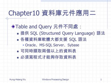 Hung-Hsiang WuWindows Processing Design1 Chapter10 資料庫元件應用二 Table and Query 元件不同處: 提供 SQL (Structured Query Language) 語法 各種資料庫軟體大都支援 SQL 語法  Oracle 、