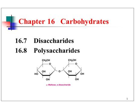 1 Chapter 16 Carbohydrates 16.7 Disaccharides 16.8 Polysaccharides.