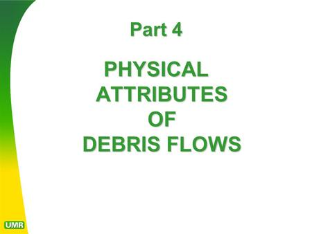 Part 4 PHYSICAL ATTRIBUTES OF DEBRIS FLOWS. DEBRIS FLOW LOBES Debris flows coalesce in first- order and second order drainages. They usually deposit debris.