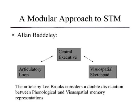 A Modular Approach to STM Allan Baddeley: Articulatory Loop Central Executive Visuospatial Sketchpad The article by Lee Brooks considers a double-dissociation.