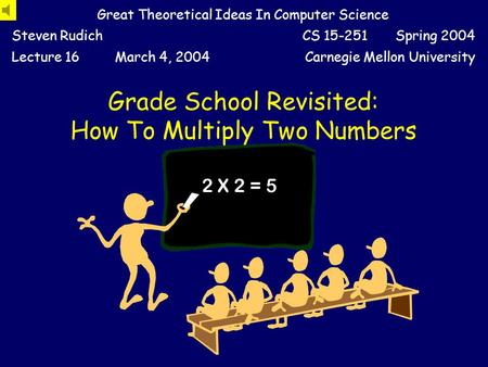 Grade School Revisited: How To Multiply Two Numbers Great Theoretical Ideas In Computer Science Steven RudichCS 15-251 Spring 2004 Lecture 16March 4,