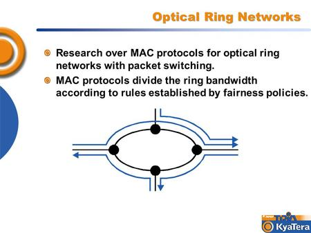 Optical Ring Networks Research over MAC protocols for optical ring networks with packet switching. MAC protocols divide the ring bandwidth according to.