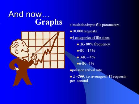 And now … Graphs simulation input file parameters 10,000 requests 4 categories of file sizes 1K- 80% frequency 4K – 15% 16K – 4% 64K –1% poisson arrival.