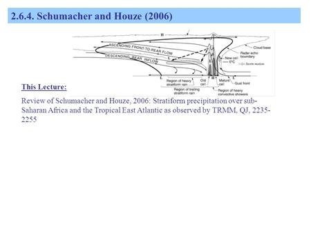 2.6.4. Schumacher and Houze (2006) This Lecture: Review of Schumacher and Houze, 2006: Stratiform precipitation over sub- Saharan Africa and the Tropical.