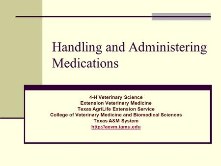 Handling and Administering Medications 4-H Veterinary Science Extension Veterinary Medicine Texas AgriLife Extension Service College of Veterinary Medicine.
