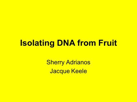 Isolating DNA from Fruit Sherry Adrianos Jacque Keele.