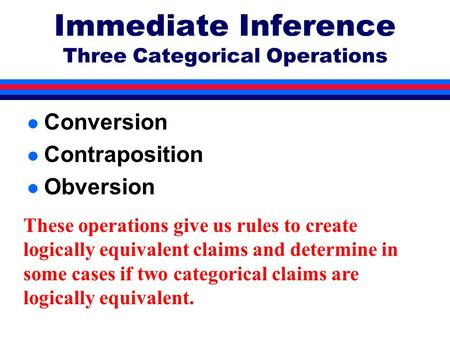 Immediate Inference Three Categorical Operations