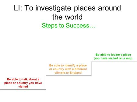 LI: To investigate places around the world Steps to Success… Be able to talk about a place or country you have visited Be able to identify a place or country.
