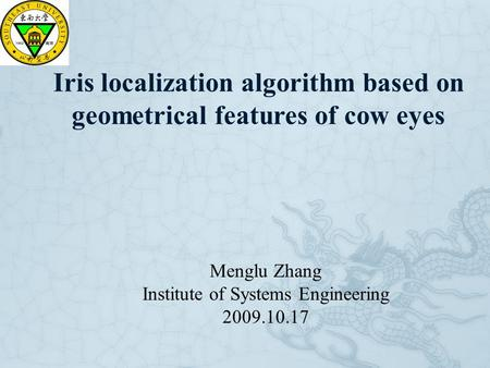 Iris localization algorithm based on geometrical features of cow eyes Menglu Zhang Institute of Systems Engineering 2009.10.17.