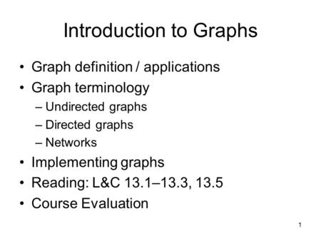 1 Introduction to Graphs Graph definition / applications Graph terminology –Undirected graphs –Directed graphs –Networks Implementing graphs Reading: L&C.