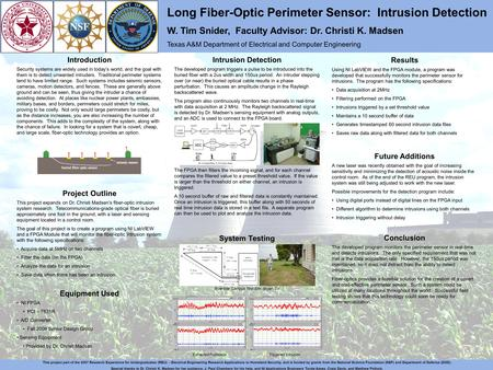Long Fiber-Optic Perimeter Sensor: Intrusion Detection W. Tim Snider, Faculty Advisor: Dr. Christi K. Madsen Texas A&M Department of Electrical and Computer.