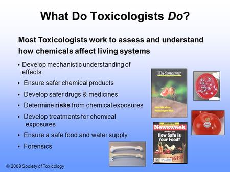 © 2008 Society of Toxicology ? What Do Toxicologists Do? Most Toxicologists work to assess and understand how chemicals affect living systems Develop mechanistic.