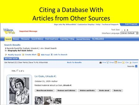 Citing a Database With Articles from Other Sources.