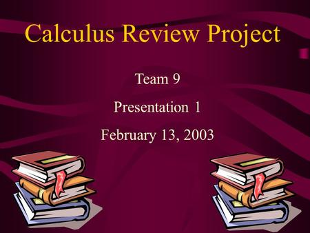 Calculus Review Project Team 9 Presentation 1 February 13, 2003.