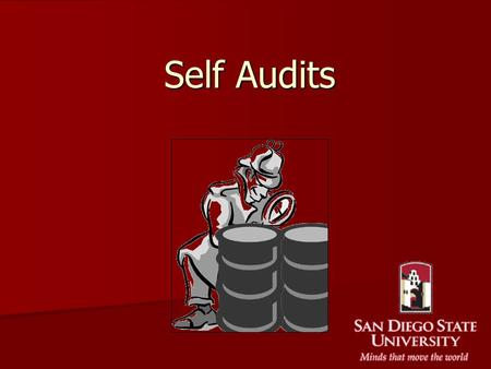 Self Audits. The Audit Process Audits are done Biannually (Feb. and Aug.). Audits are done Biannually (Feb. and Aug.). They are performed by persons as.