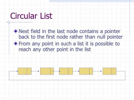 Circular List Next field in the last node contains a pointer back to the first node rather than null pointer From any point in such a list it is possible.