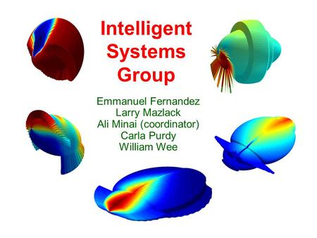 Intelligent Systems Group Emmanuel Fernandez Larry Mazlack Ali Minai (coordinator) Carla Purdy William Wee.