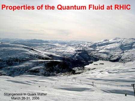 Properties of the Quantum Fluid at RHIC Strangeness in Quark Matter March 26-31, 2006.