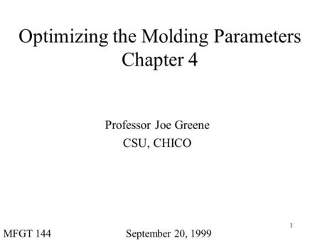 Optimizing the Molding Parameters Chapter 4