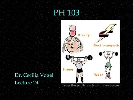 PH 103 Dr. Cecilia Vogel Lecture 24 From the particle adventure webpage.