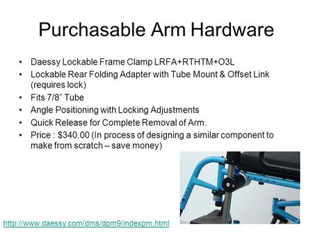 Purchasable Arm Hardware Daessy Lockable Frame Clamp LRFA+RTHTM+O3L Lockable Rear Folding Adapter with Tube Mount & Offset Link (requires lock) Fits 7/8""